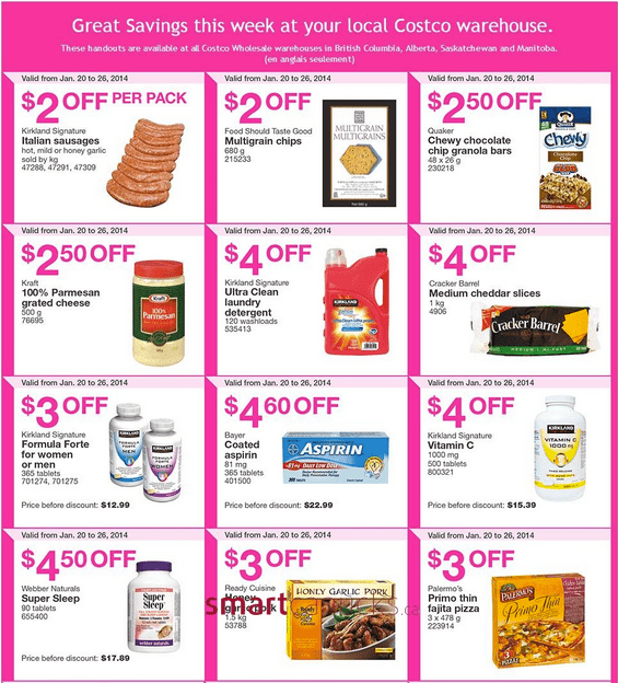 Costco 2 Costco Canada Flyers/Coupons for (British Columbia, Alberta, Saskatchewan & Manitoba) From January 20   26, 2014