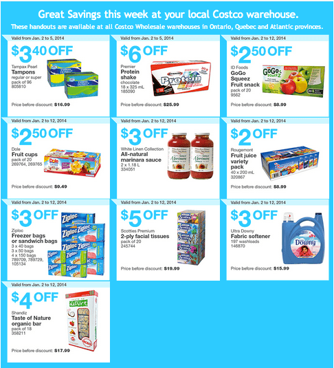 Costco Eastern  Costco Canada Eastern Weekly Instant Handouts: Ontario, Quebec & Atlantic, January 2 — 5, 2014