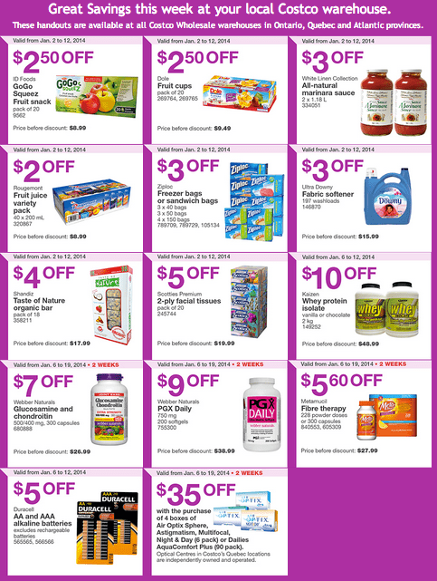 Costco Eastern Costco Canada Eastern Weekly Instant Handouts: Ontario, Quebec & Atlantic, January 6 — 12, 2014