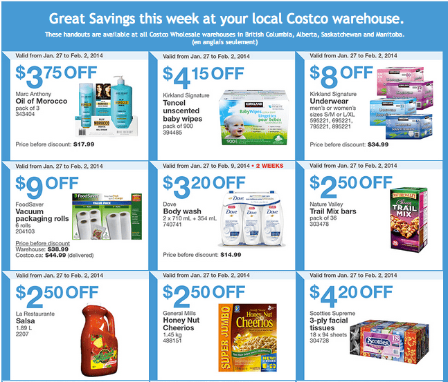 Costco West 1 Costco Canada Western Weekly Instant Handouts: British Columbia, Alberta, Saskatchewan & Manitoba, January 27 to February 2, 2014