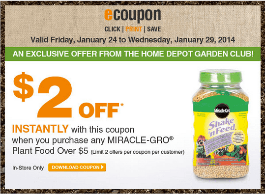 Home Depot Canada Garden Club Coupons Get 2 Off Miracle