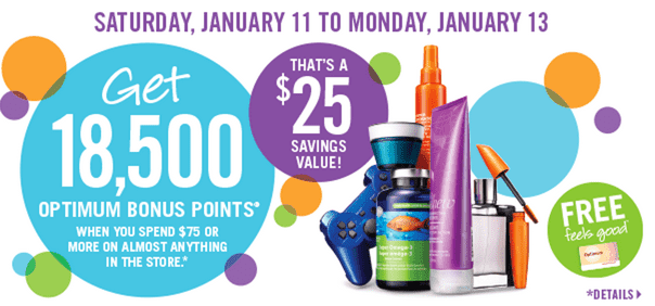 Shoppers Drug Mart Deals Shoppers Drug Mart Canada Offers: Get 18,500 Optimum Bonus Points when You Spend $75