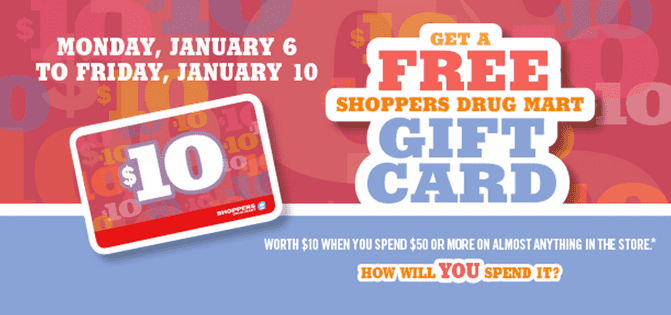 Shoppers Drug Mart Offers Shoppers Drug Mart Promotions: Get a FREE $10 Shoppers Gift Card On Your Purchase Of $50