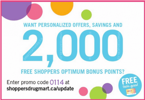 Shoppers Drug Mart Points Offers Shoppers Drug Mart Canada: Get 2000 Bonus Optimum Points when You Update Your Profile This Weekend