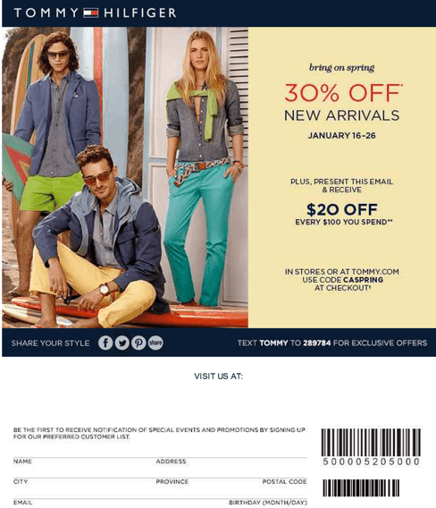 picture regarding Tommy Hilfiger Outlet Coupon Printable named Tommy hilfiger outlet coupon codes canada : Rack assault coupon