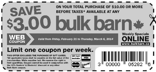 Bulk Barn Canada coupon Bulk Barn Canada Printable Coupons: Save $3 When You Spend $10