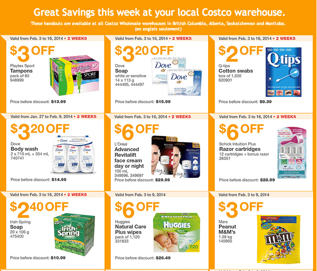 Costco West 1  Costco Canada Western Weekly Instant Handouts: British Columbia, Alberta, Saskatchewan & Manitoba, February 3   9, 2014