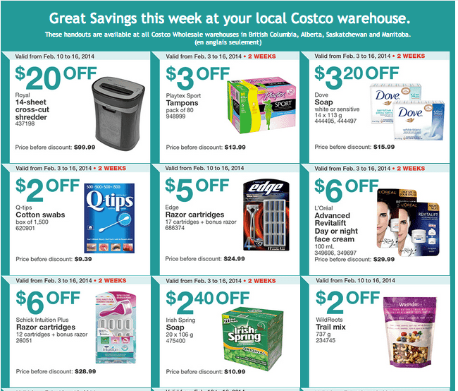 Costco w 1 Costco Canada Western Weekly Instant Handouts: British Columbia, Alberta, Saskatchewan & Manitoba, From February 10 to 16, 2014