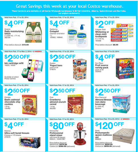Costco w 11 Costco Canada Western Weekly Instant Handouts: British Columbia, Alberta, Saskatchewan & Manitoba, From February 17 to 23, 2014