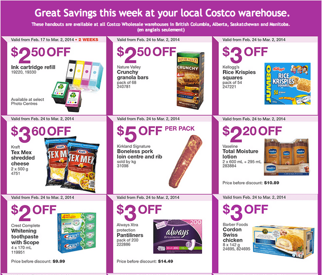 Costco w 12 Costco Canada Western Weekly Instant Handouts: British Columbia, Alberta, Saskatchewan & Manitoba, From February 24 to March 2, 2014