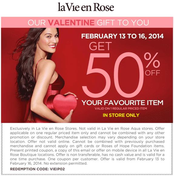 La vie en rose canada coupon pour l offre de la saint - Coupon de reduction delamaison ...