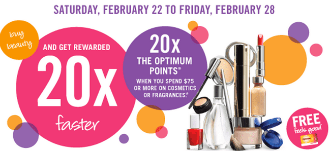 Shoppers Drug Mart Canada Offer Shoppers Drug Mart Deals: Get 20x Your Optimum Points on Your $75 Cosmetics and Fragrances Purchase