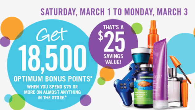 Shoppers Drug Mart Canada Offers1 Shoppers Drug Mart Offers: Receive 18,500 Optimum Bonus Points On Almost Anything $75 Purchase