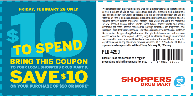 Shoppers Drug Mart Canada coupon Shoppers Drug Mart Coupons: Save $10 when You Spend $50 or More
