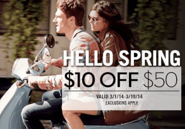 Aéropostales Canada Coupon Aéropostale Canada Spring Coupons: Save $10 On Your Purchase of $50 or more, In Store!