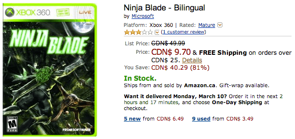 Amazon 1 Amazon.ca Deals On Xbox 360 Games: Save 81% On Ninja Blade   Bilingual