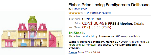 Amazon Amazon.ca Offers: Get Fisher Price Loving Familydream Dollhouse For Just $36.46 (Save 70%)