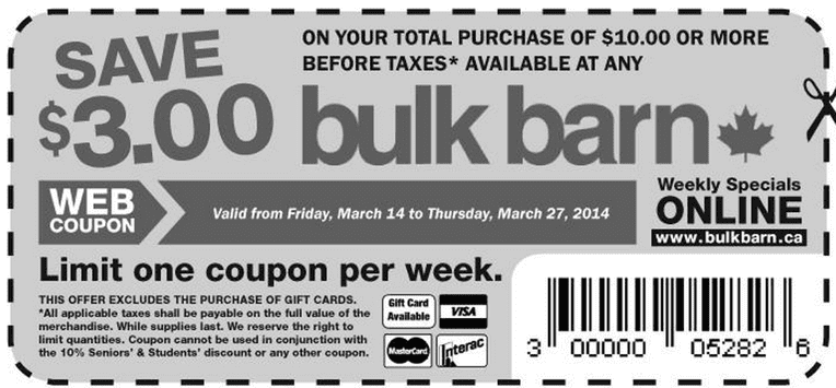 Bulk Barn Canada Coupons Bulk Barn Coupons: Save $3 on Your Total Purchase of $10 or More