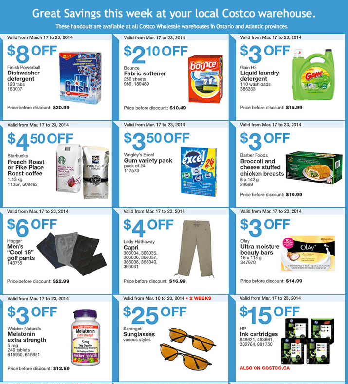 Costco Canada Weekly Instant Handouts Coupons Costco Canada Instant Handouts Coupons For Ontario and Atlantic Provinces, March 17 To 23, 2014