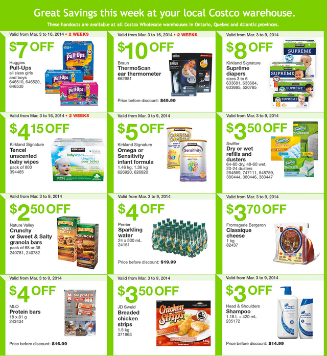 Costco Canada Weekly Instant Handouts Costco Canada Eastern Weekly Instant Handouts Flyers: Ontario, Quebec & Atlantic, March 3 to 9, 2014
