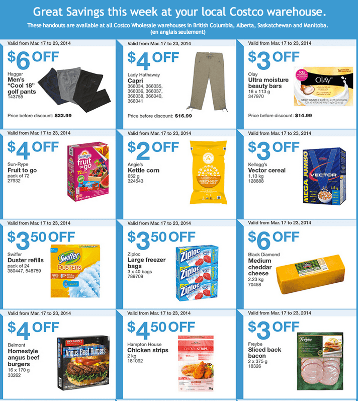 Costco Canada Western Weekly Instant Handouts Coupons Flyers Costco Canada Weekly Instant Handouts Coupons For British Columbia, Alberta, Saskatchewan & Manitoba, March 17 To March 23, 2014
