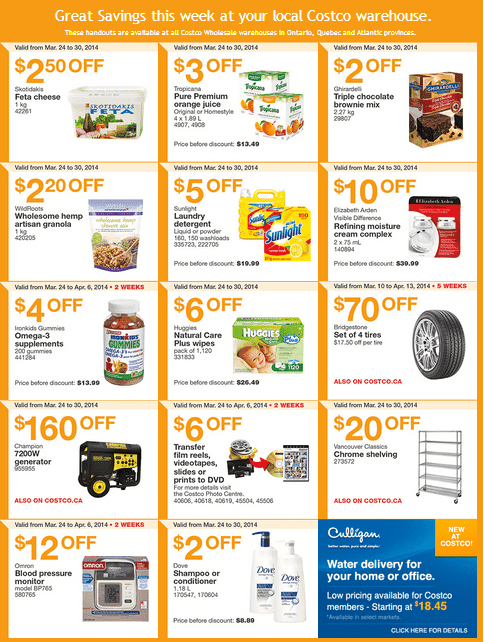 Costco e 11 Costco Canada Eastern Weekly Instant Handouts Flyers: Ontario, Quebec & Atlantic, March 24 to 30, 2014