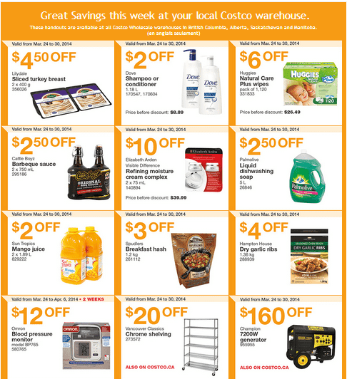 Costco w 11 Costco Canada Weekly Instant Handouts Coupons For British Columbia, Alberta, Saskatchewan & Manitoba, March 24To March 30, 2014