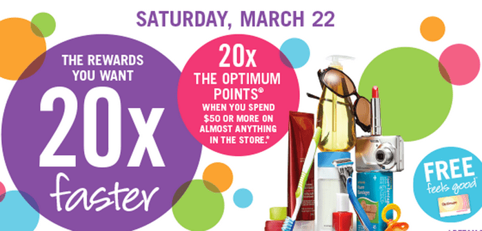 Shoppers Drug Mart Canada Optimum Points Bonus Deals Shoppers Drug Mart Canada Optimum Points Bonus Deals: Start the Weekend with 20x the Points