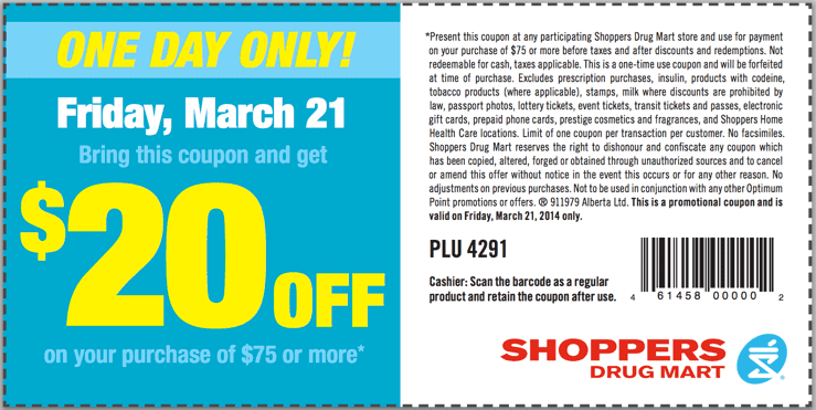 Shoppers Drug Mart Canada Printable Coupons Shoppers Drug Mart Canada Printable Coupons: Get $20 Off When You Spend $75 or More