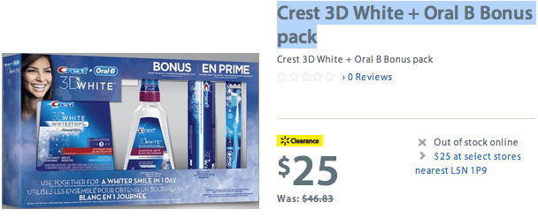 Walmart 21 Walmaet Canada Clearance: Irish Spring Celtic Rapids Body Wash For $2 & Crest 3D White + Oral B Bonus Pack For $25