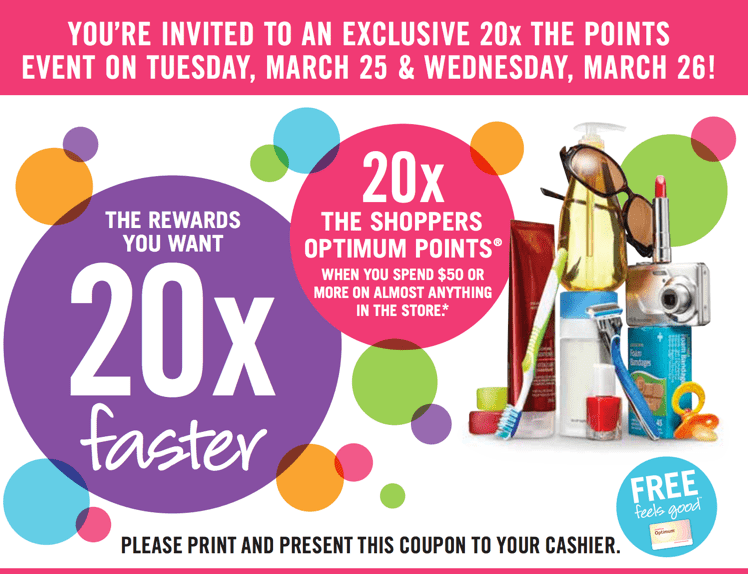 z1395597586 small Shoppers Drug Mart Coupons: 20X the Optimum Points when You Spend $50, March 25 26, 2014