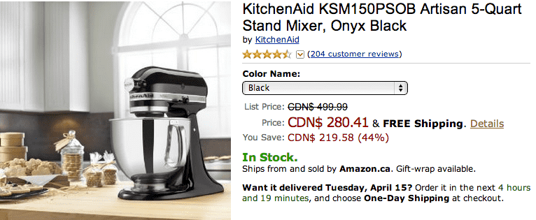 Amazon Canada1 Amazon.ca Offers: Gett KitchenAid KSM150PSOB Artisan 5 Quart Stand Mixer, Onyx Black For $280.41, Save 44%