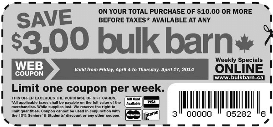 Bulk Barn Canada Printable Coupons Bulk Barn Canada Coupon: Save $3 When You Spend $10, April 4 17, 2014