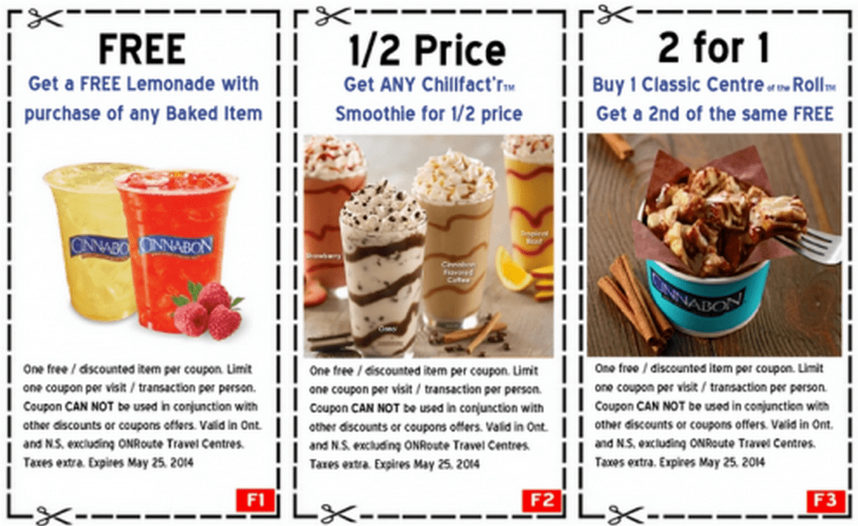 Cinnabon Canada Coupons Cinnabon Canada Printable Coupons: FREE Lemonade with Purchase of Any Baked Item, 1/2 Price Any Chillfactr Smoothies & 2 for 1 Classic Centre of the Roll!