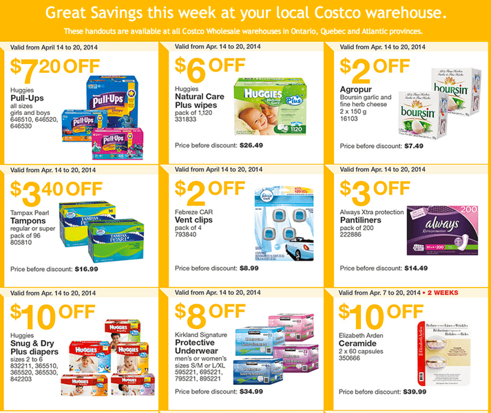 Costco Canada Eastern Weekly Instant Handouts  Costco Canada Weekly Instant Handouts Coupons: Ontario, Quebec & Atlantic, Monday, April 14 To Sunday, April 20, 2014