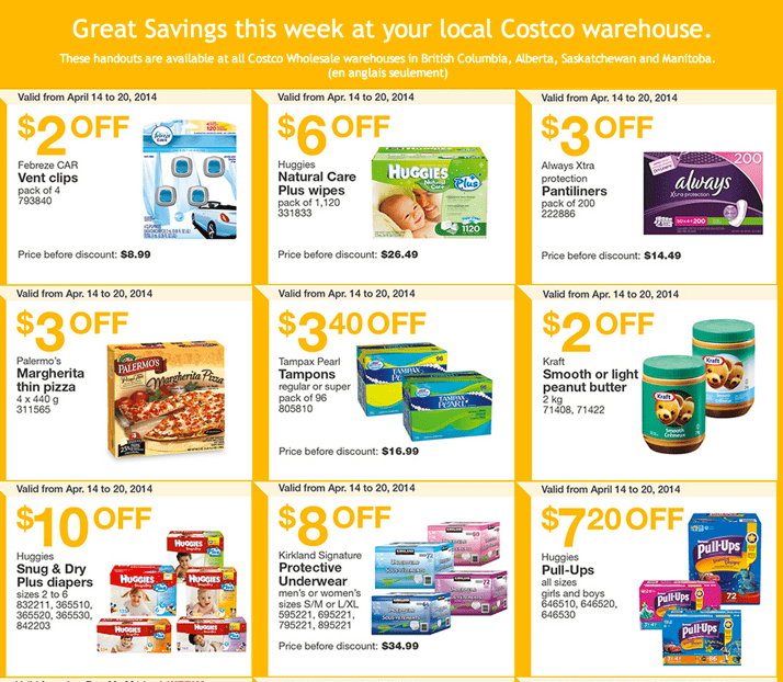 Costco Canada Western Weekly Instant Handouts Coupons Costco Canada Weekly Instant Handouts Coupons: British Columbia, Alberta, Saskatchewan & Manitoba, Monday, April 14 To Sunday, April 20, 2014