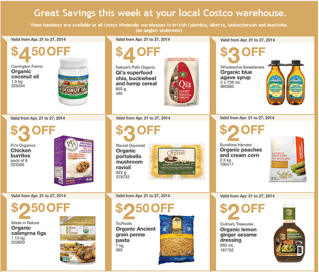 Costco w 1 Costco Canada Weekly Instant Handouts Coupons: British Columbia, Alberta, Saskatchewan & Manitoba, Monday, April 21 To Sunday, April 27, 2014