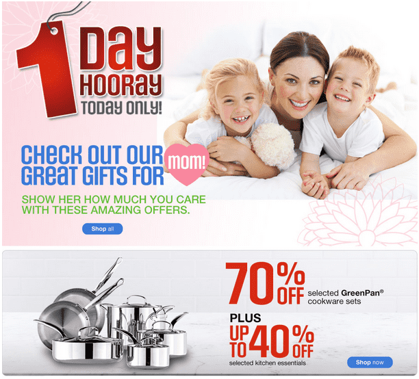 Sears1 Sears Canada Mothers Day Gifts 1 Day Sale: Save Up To 60% On Womens Sleepwear & 70% On GreenPan Cookware Sets And More