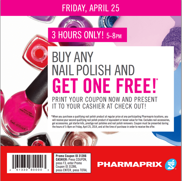 Shoppers Drug Mart Canada Deals1 Shoppers Drug Mart Canada Deals: Buy Any Nail Polish & Get One FREE This Friday, April 25 From 5pm To 8pm