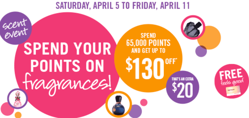 Shoppers Drug Mart Canada Event Shoppers Drug Mart Scent Event Promotion: Spend 65,000 Optimum Points on Fragrances and Get $130 OFF Your Purchase