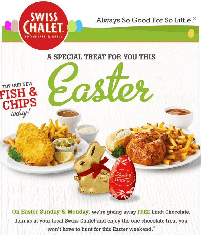 Swiss Chalet Easter Deals Swiss Chalet Canada Easter Offers: FREE Lindt Easter Chocolates and Meal For Two On Next Purchase