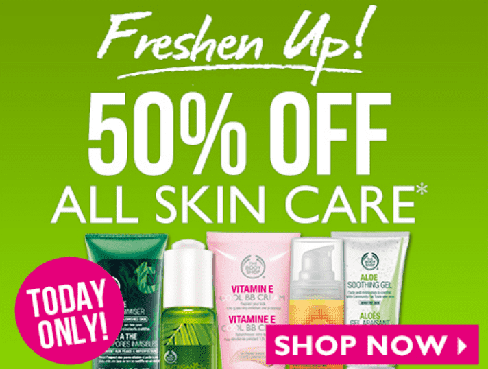The Body Shop Canada Deal The Body Shop Canada Online Sale: Get 50% OFF All Skin Care, Today Only