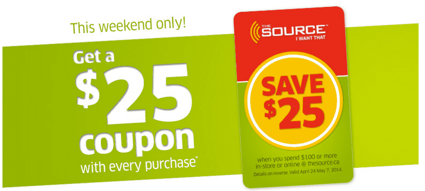 The Source Promo Codes Get 7 tested and valid coupons. 70%. OFF. Sale $25 off $ @ The Source Canada with this coupon code The site has been opened in a new tab or window for you to shop. To redeem the discount enter the code EMAILEXCLUSIVE when you reach the checkout.