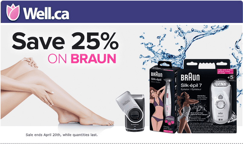Well.ca  Well.ca Offers: Save 25% On All Braun Shavers & Epilators
