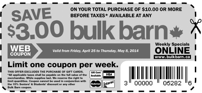 bulk barn Coupon Bulk Barn Canada Coupon: Save $3 When You Spend $10, April 25 – May 8, 2014