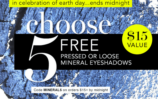 z1398176415 small e.l.f. Cosmetics Earth Day Coupon Code for Freebie: 5 FREE Pressed or Loose Mineral Eyeshadows ($15 Value) with Orders of $15 Today!