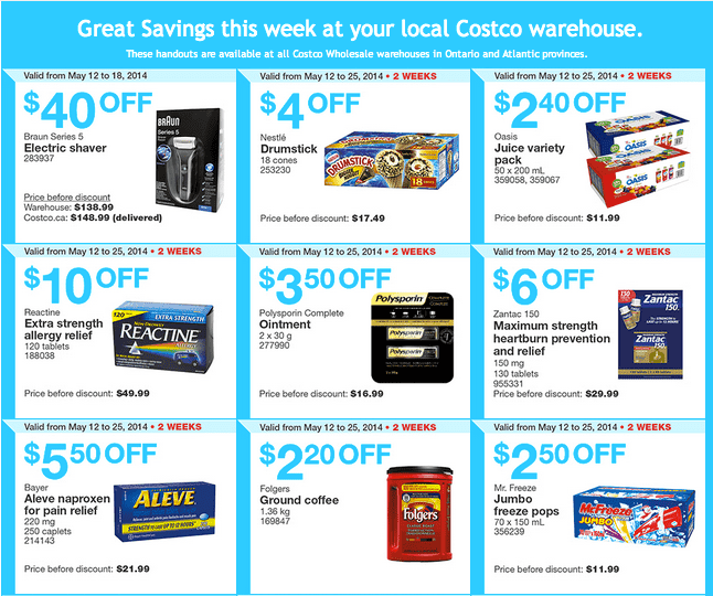 Costco e11 Costco Canada Weekly Instant Handouts Coupons: Ontario & Atlantic, Monday, May 12 To Sunday, May 18, 2014