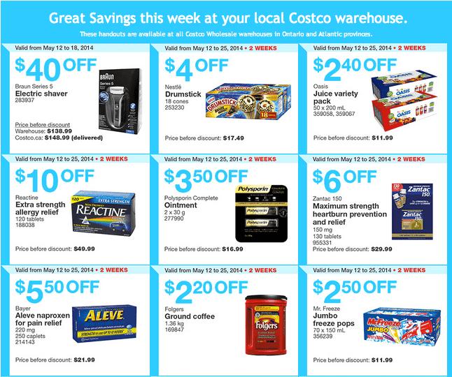 Costco e11 Costco Canada Weekly Instant Handouts Coupons: Ontario & Atlantic, Monday, May 12 To Sunday, May 18, 2014
