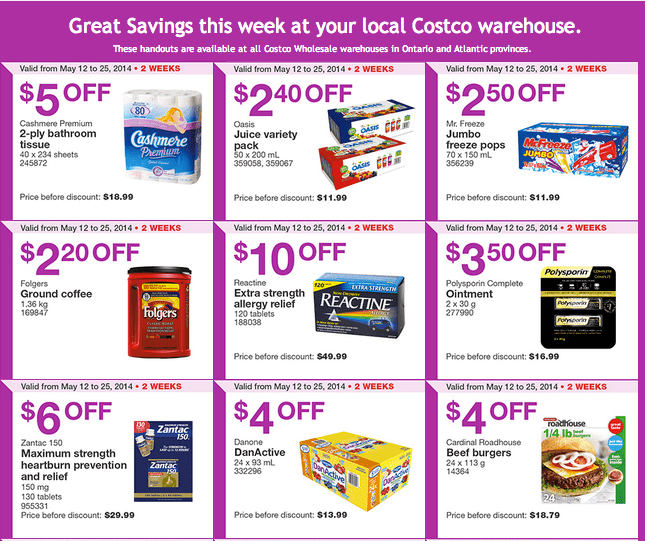 Costco e12 Costco Canada Weekly Instant Handouts Coupons: Ontario & Atlantic, Until Sunday, May 25, 2014
