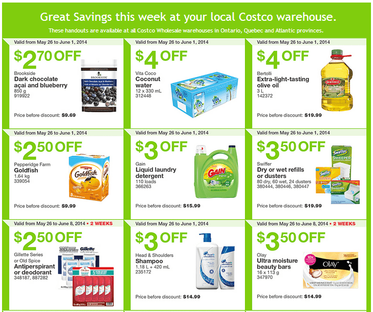 Costco e13 Costco Canada Weekly Instant Handouts Coupons: Ontario, Quebec & Atlantic, Monday, May 26 To Sunday, June 1, 2014